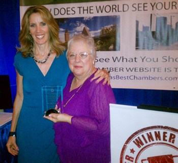 Michele Schalin of Texas Best Chambers and Mary Bradshaw with the Greater Leander Chamber of Commerce at the Texas Chamber of Commerce Executives Annual Conference in Bastrop, TX