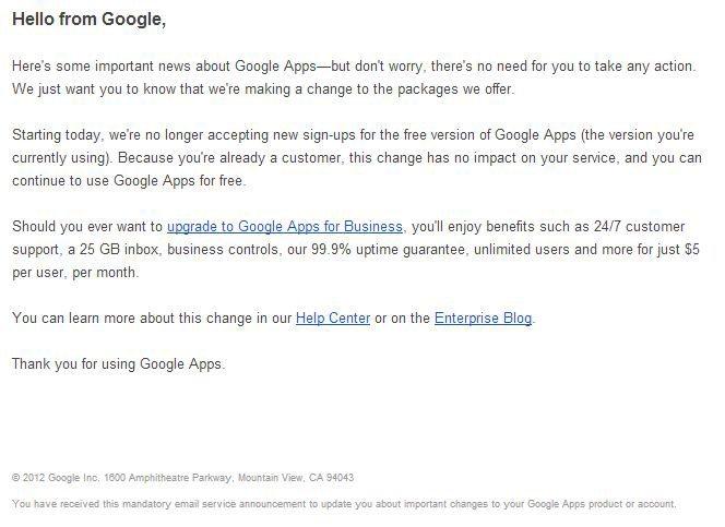 Google apps no longer free notice