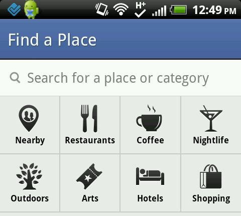 facebook nearby categories screen