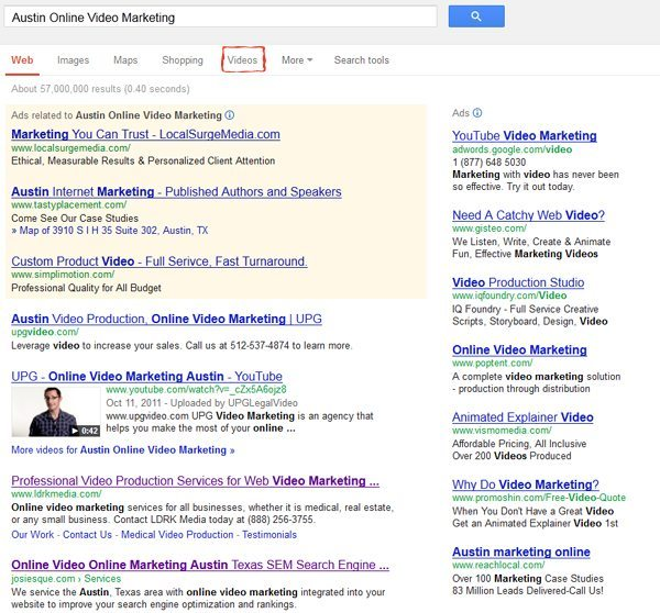 """Video link in Google search moved from the """"move"""" drop down"""""""