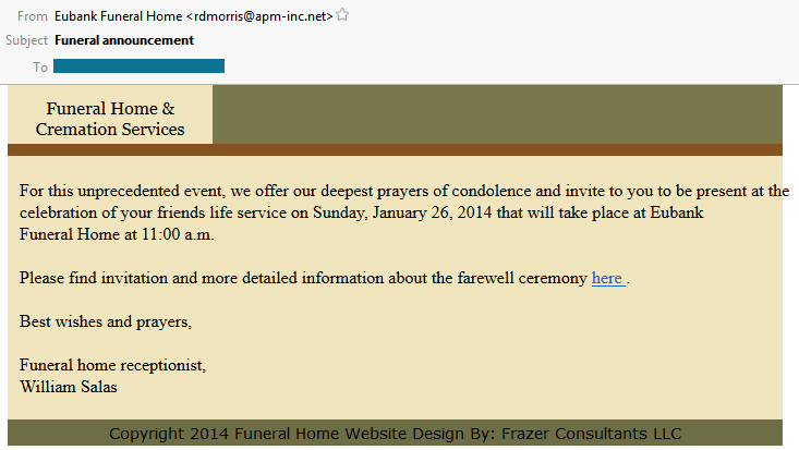 Email Scam Example Funeral