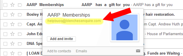 Fake AARP Email Example
