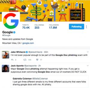 Google Doc phishing scam tweets on Twitter