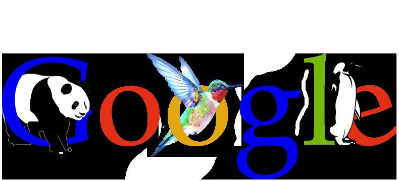 Google logo with panda, hummingbird, and penguin to represent each update.