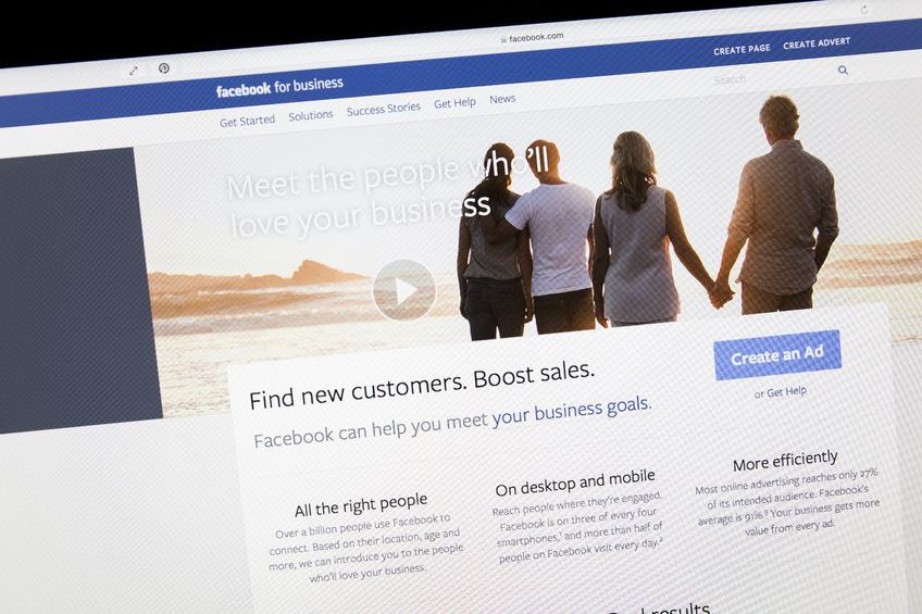 close up of facebook business page on a computer screen.