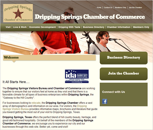 Chamber of Commerce website before the redesign