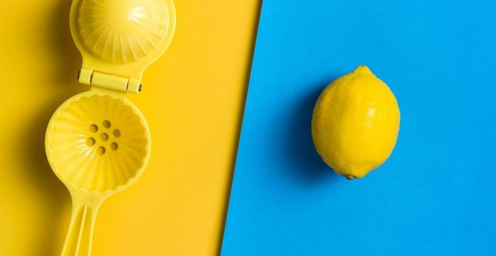 An example of effective color contrast with a lemon and a blue background.