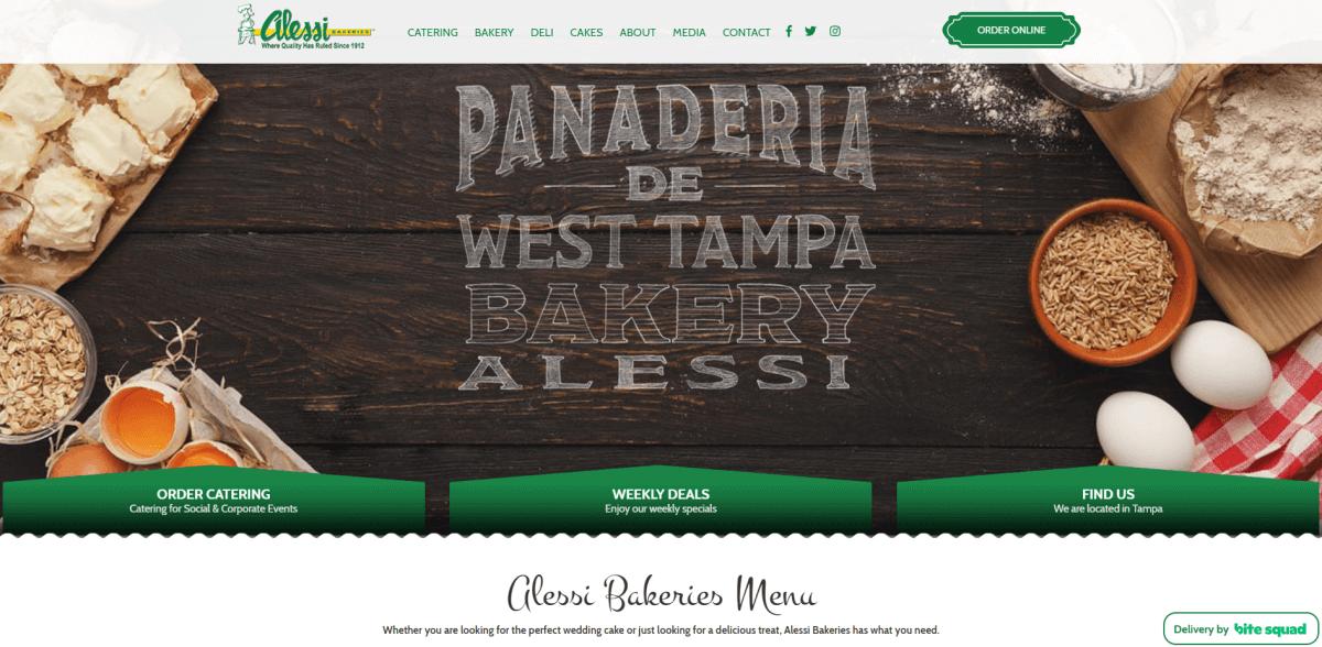 Alessia Bakery website screenshot.