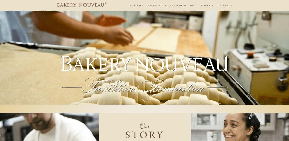 Bakery Nouveau bakery website screenshot.