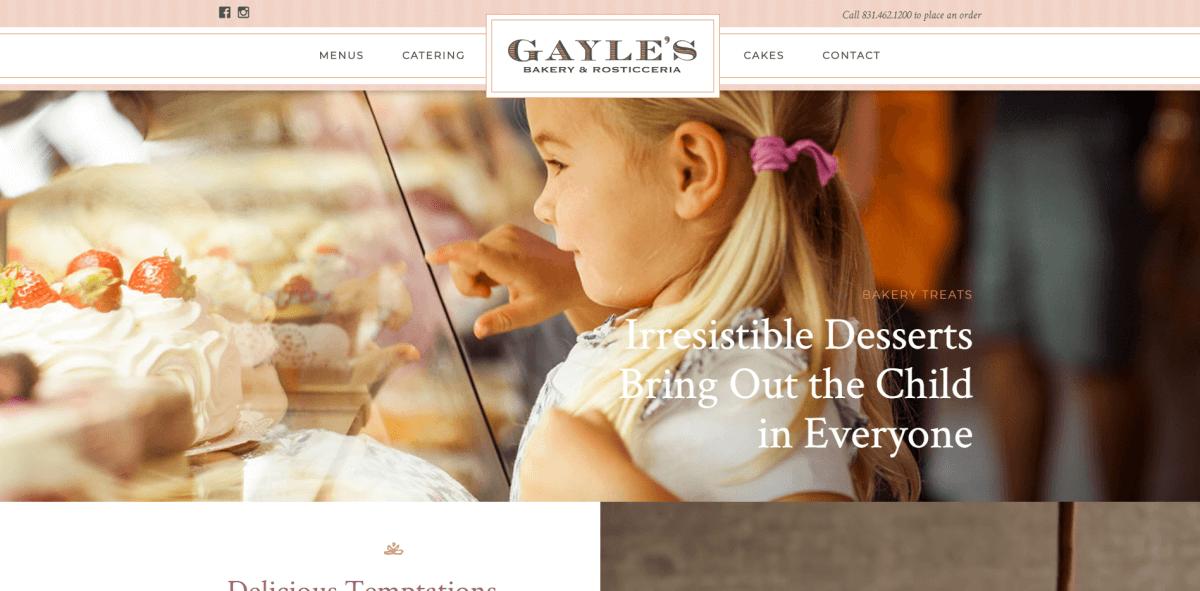 Gayles bakery website screenshot.