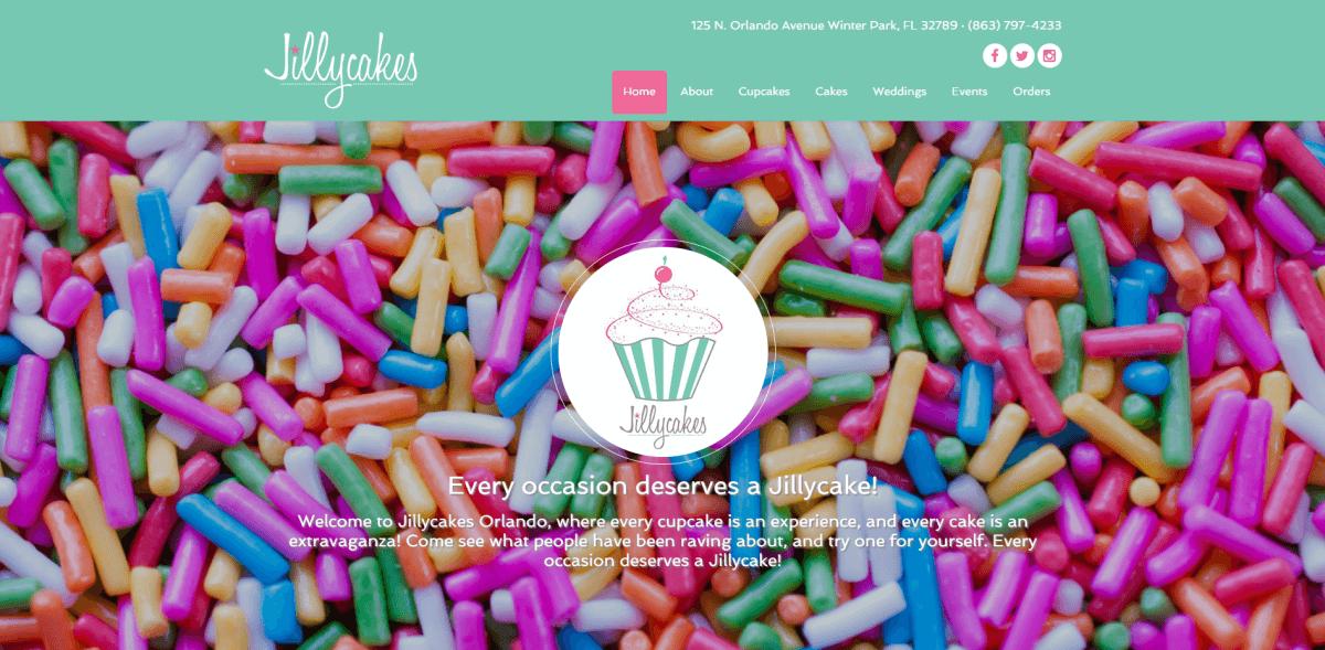 Jillycakes website screenshot.