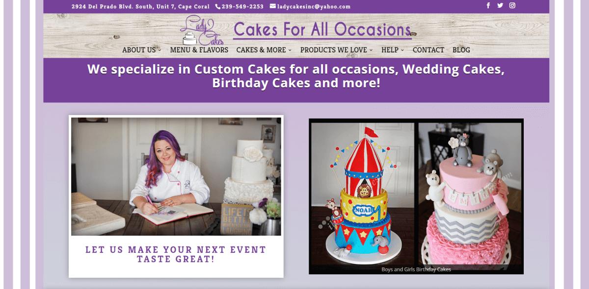 Lady Cakes bakery screenshot.