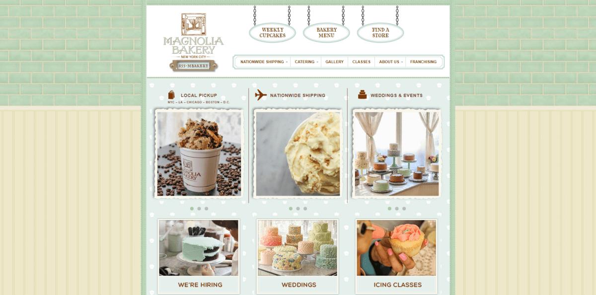 Magnolia Bakery website screenshot.