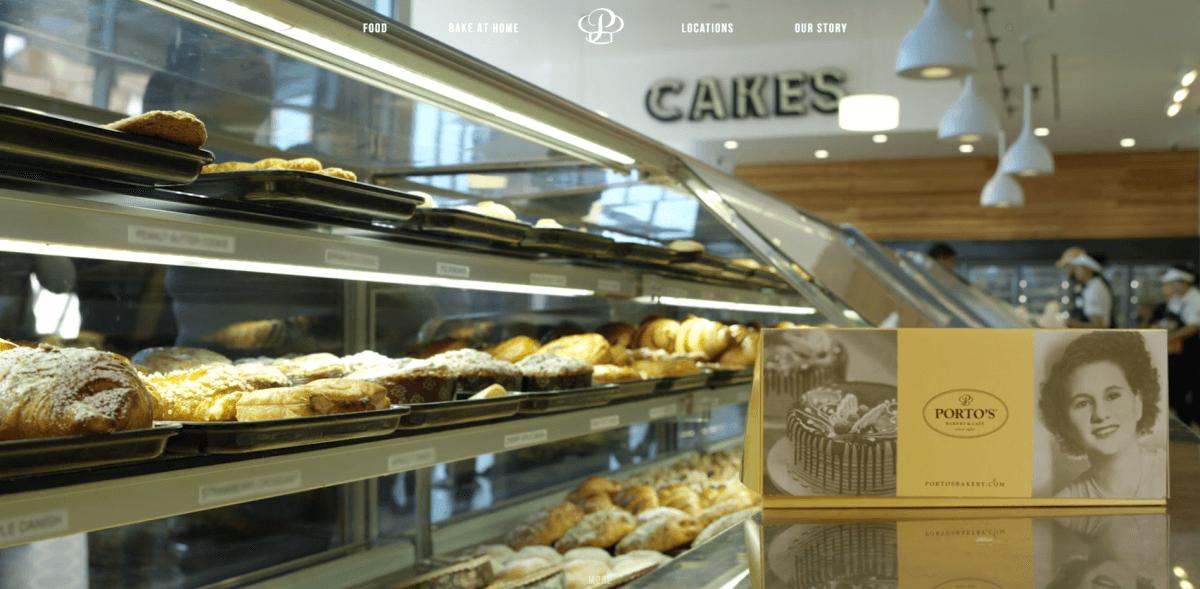 Porto's Bakery website screenshot.