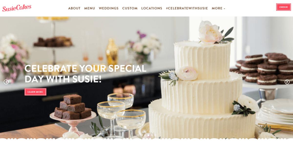 Screenshot of the Susiecakes Bakery website.