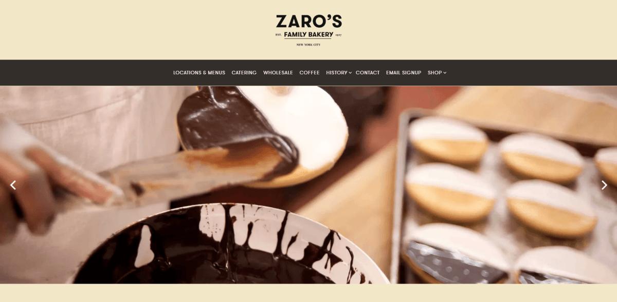 Zaro's Family Bakery website screenshot.