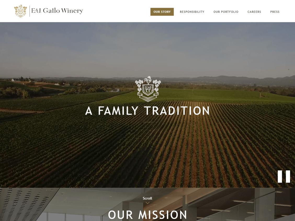 E & J Gallo Winery website screenshot.