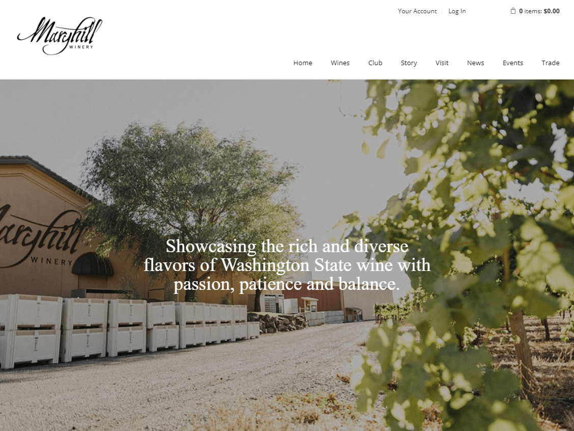 Maryhill Winery website screenshot.