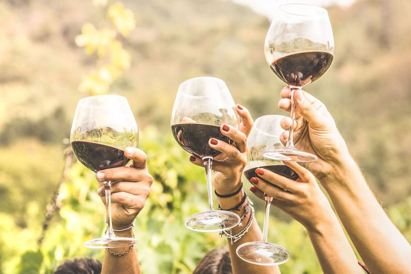 people raising their glasses of wine in the air.