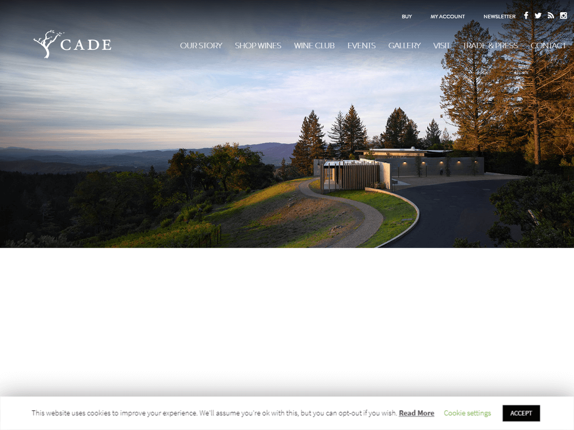 CADE Winery website screenshot.