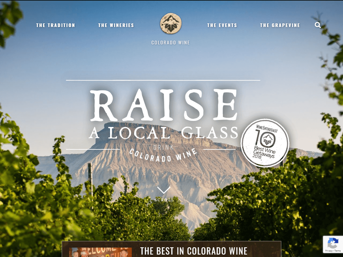Colorado Wine website screenshot