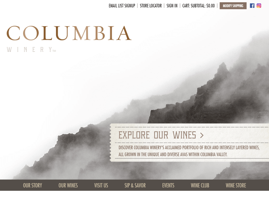 Columbia Winery website screenshot.