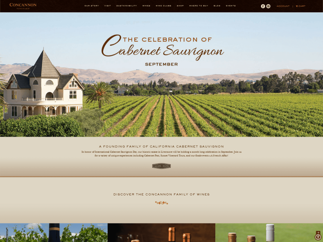 Concannon Vineyard website screenshot.
