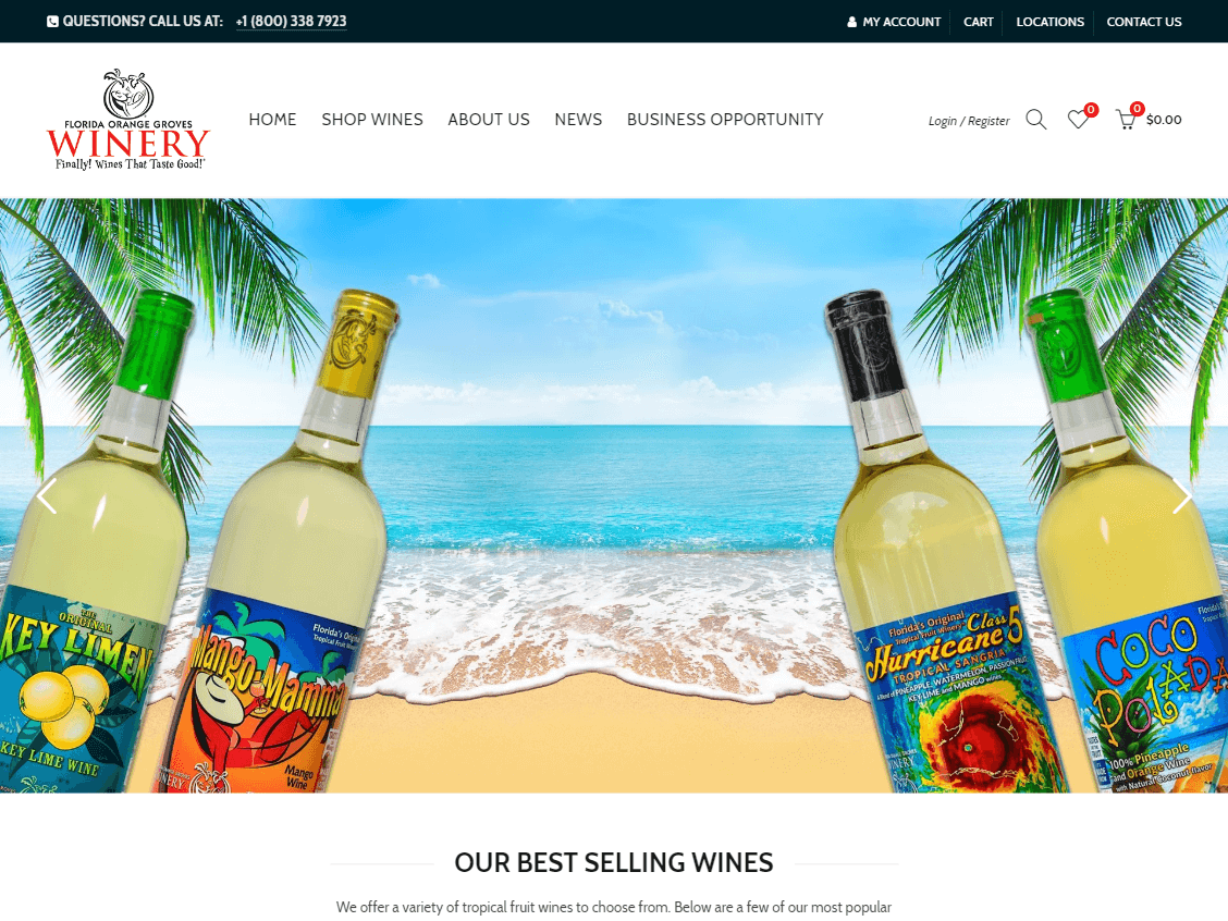 Florida Orange Groves Winery website screenshot.