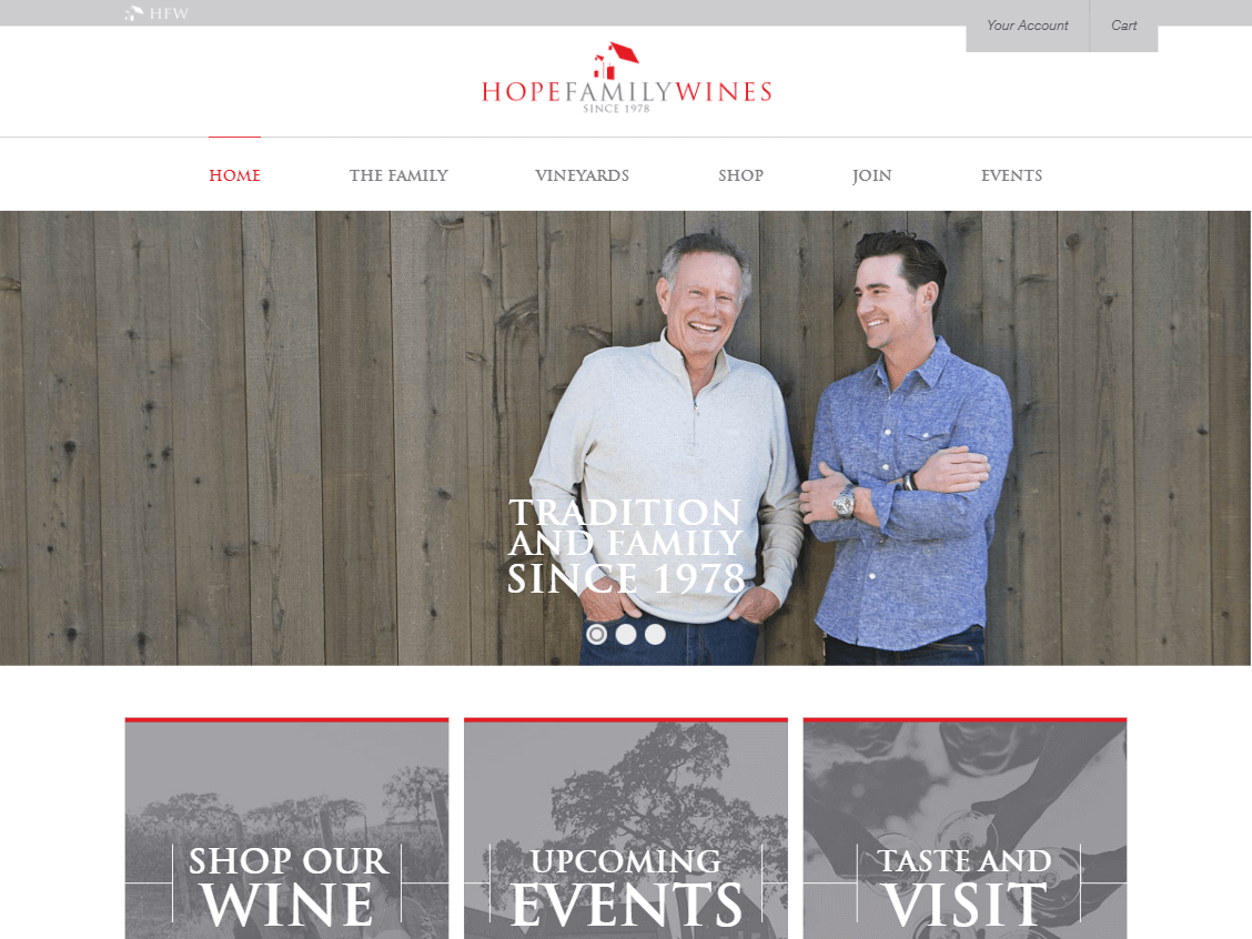 Hope Family Wines website screenshot.