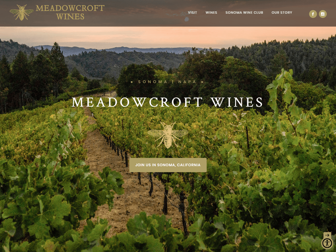 Meadowcroft Wines website screenshot.