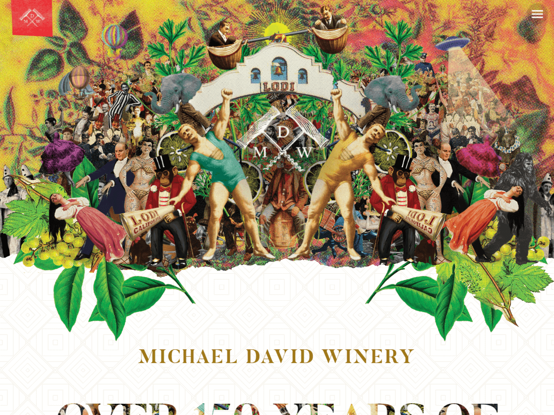 Michael David Winery website screenshot.