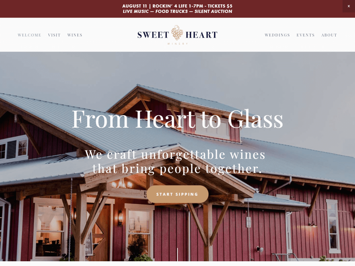 Sweet Heart Winery website screenshot.