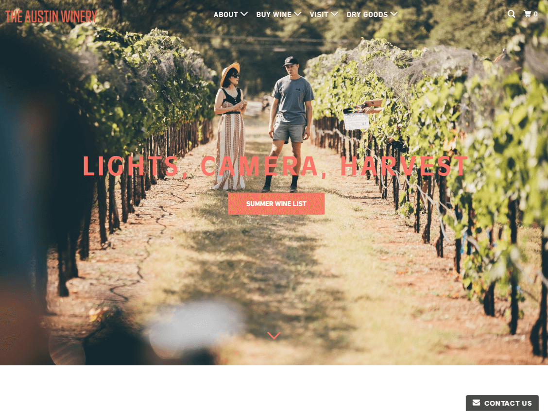 The Austin Winery website screenshot.