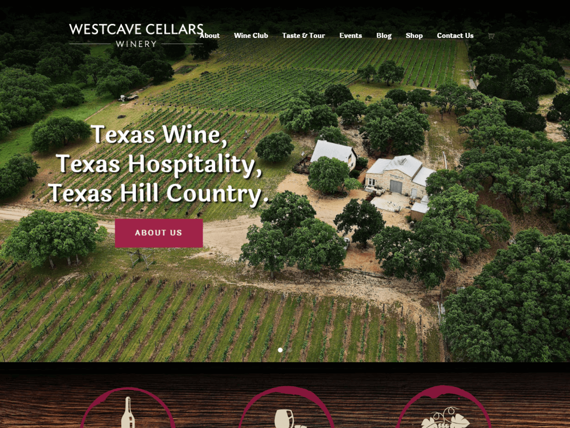 Westcave Cellars Winery website screenshot.