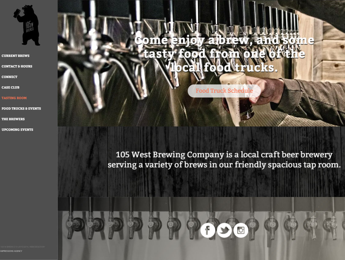 105 West Brew Co website screenshot.