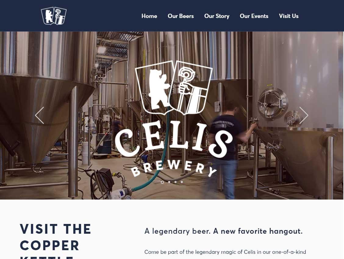 screenshot of the Celis Brewery website