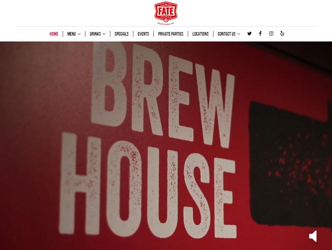 screenshot of the Fate Brewing Company website design