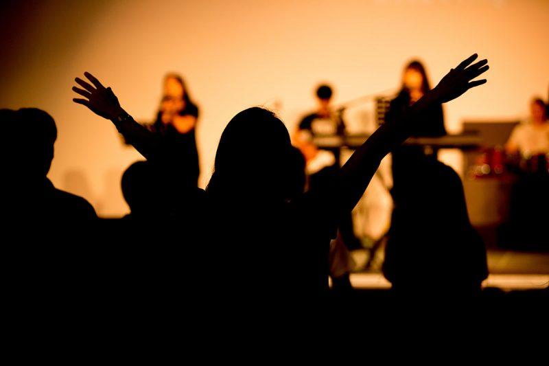 praising hands at a church service