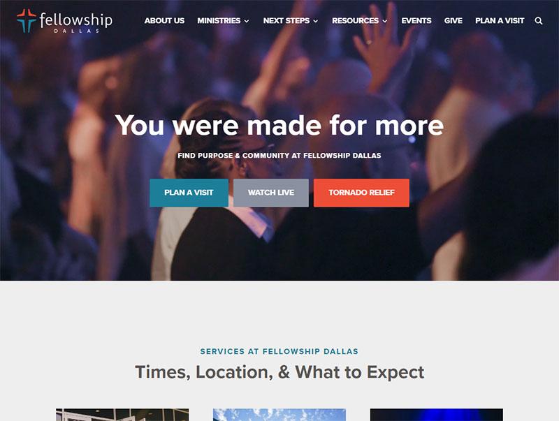 screenshot of the Fellowship Dallas church website