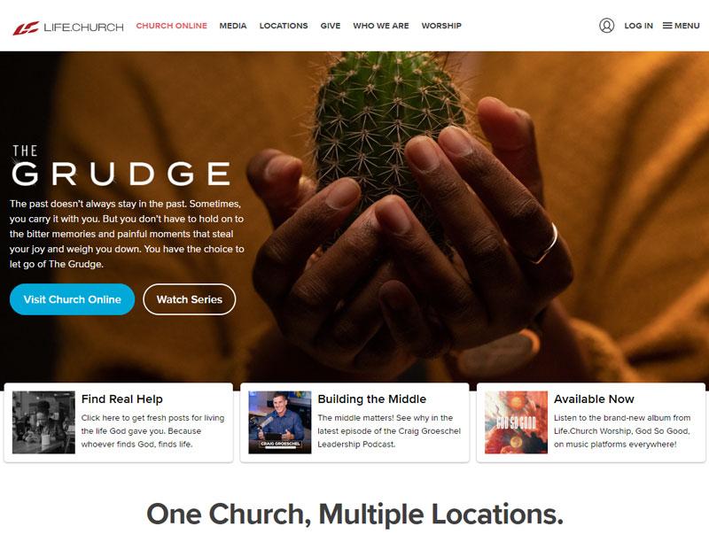 screenshot of the life church website design