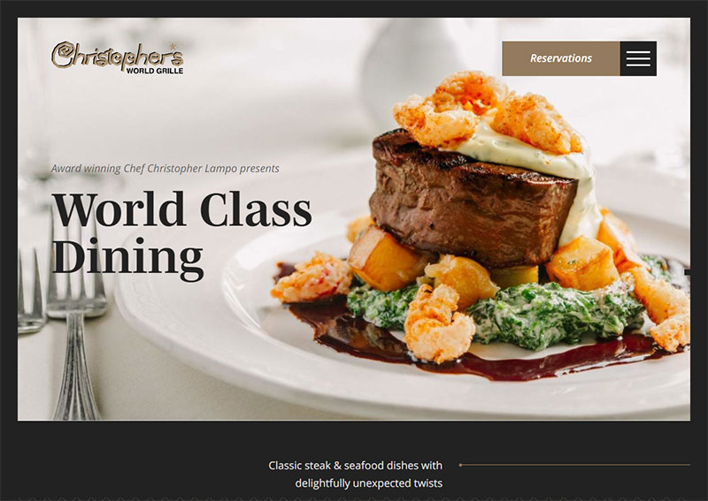 screenshot of the Christophers World Grille website