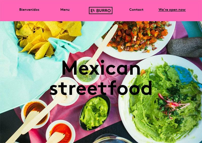 screenshot of the el burro restaurant website