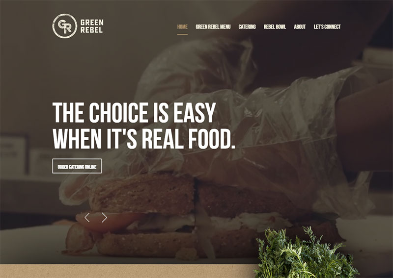 screenshot of the green rebel restaurant website