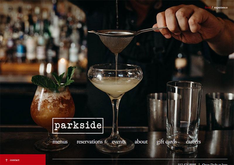 screenshot of the parkside restaurant website