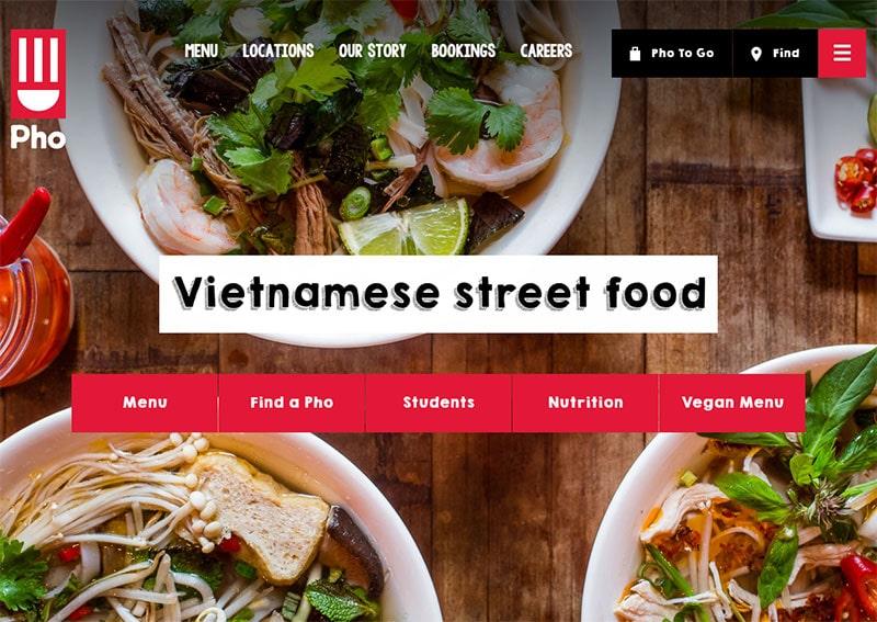 screenshot of the pho cafe website