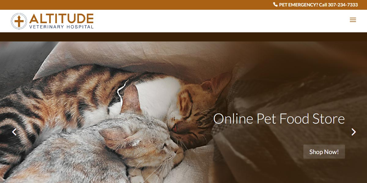 screenshot of the Altitude Veterinary Hospital website