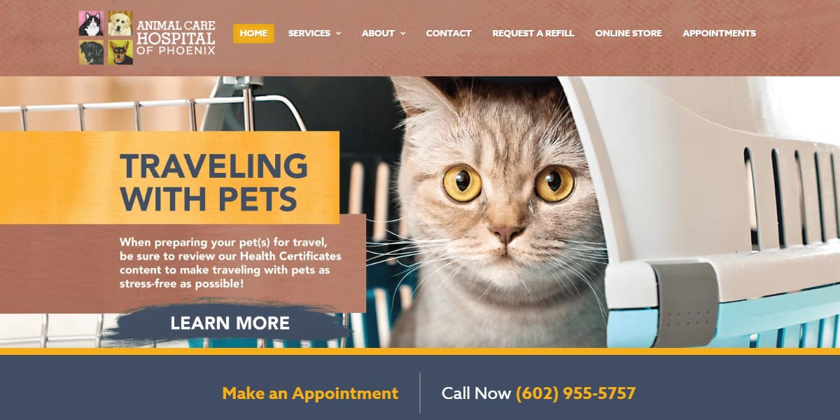screenshot of the Animal Care Hospital of Phoenix website