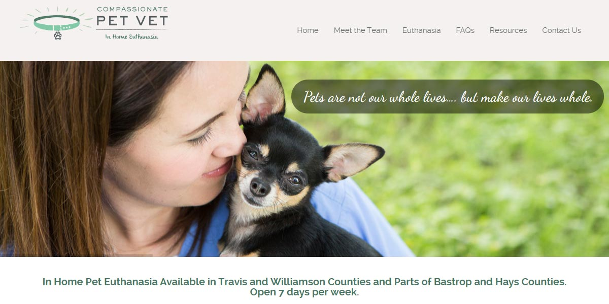 screenshot of the Compassionate Pet Vet website