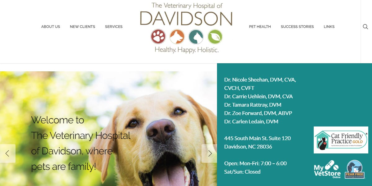 screenshot of The Veterinary Hospital of Davidson website