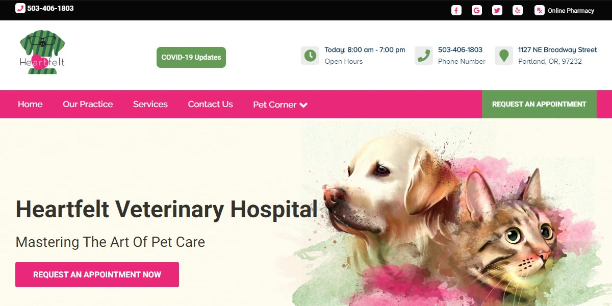 screenshot of the Heartfelt Veterinary Hospital website